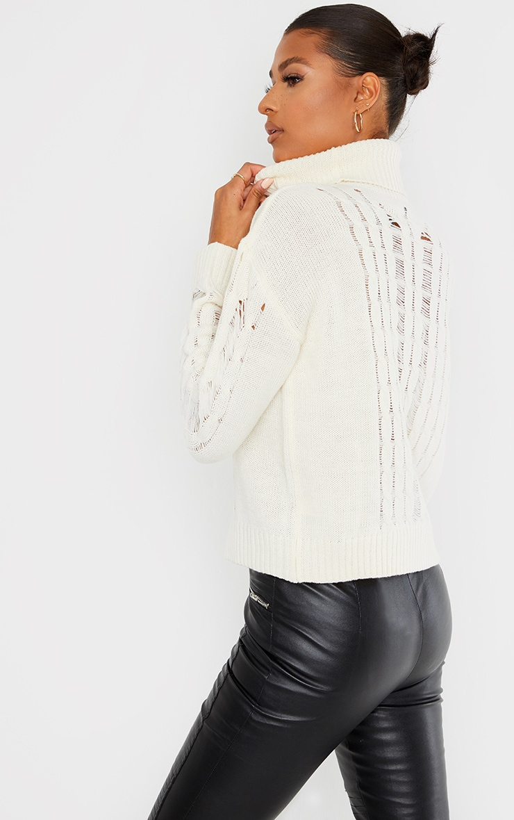 Cream Distressed Roll Neck Knitted Sweater 2