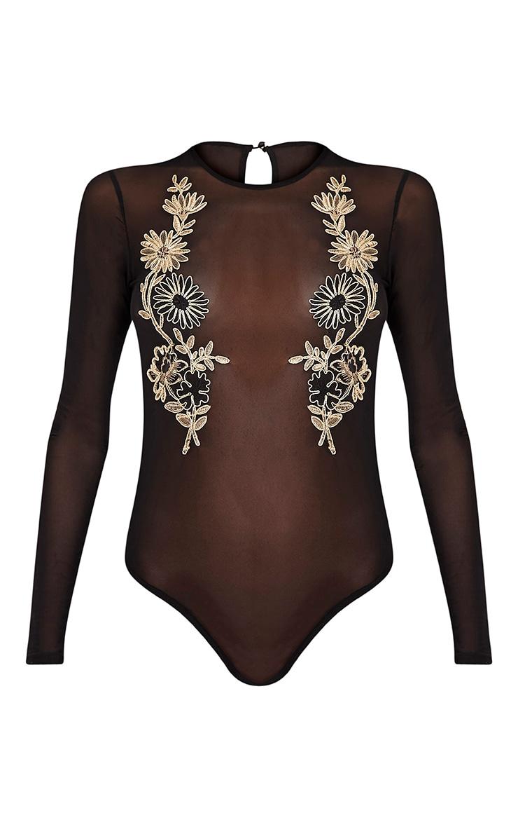 Cerise Black Mesh Floral Applique Thong Bodysuit 3