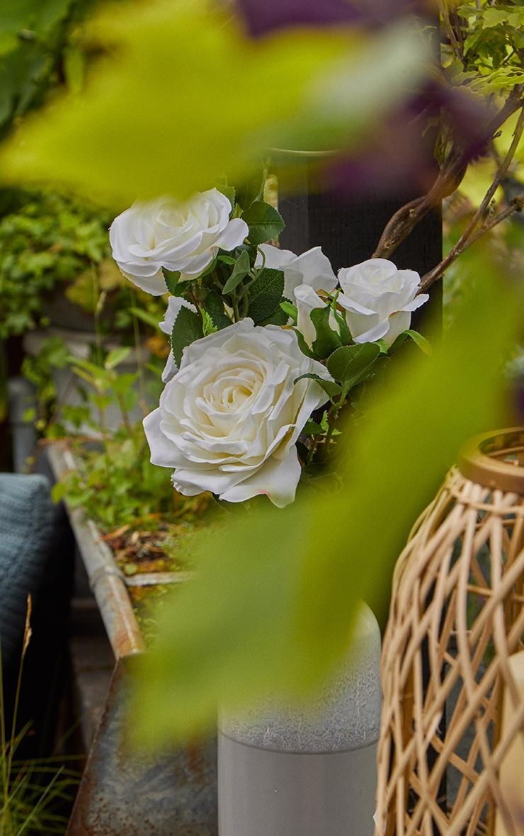 White Silk Garden Rose Artificial Flower 3