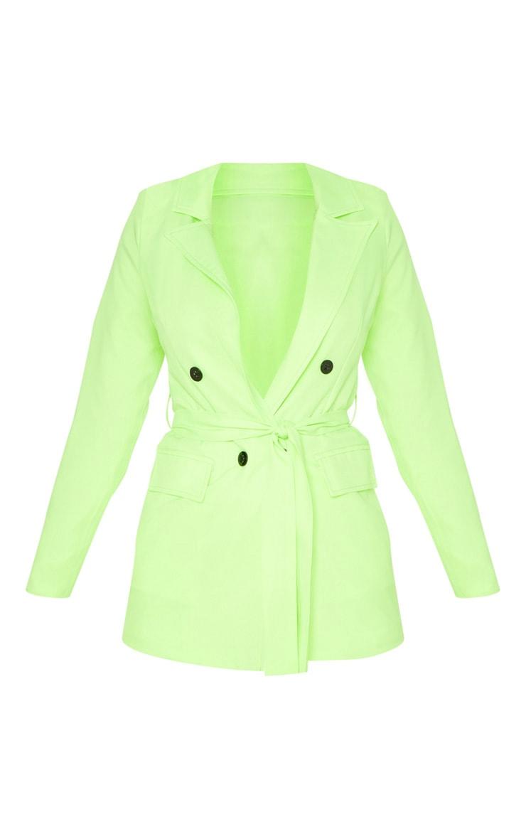 Neon Lime Belted Longline Woven Blazer  3