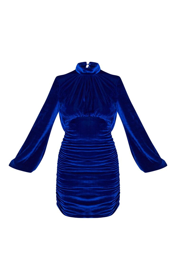 Robe moulante en velours bleu cobalt à col montant et manches ballon froncées 5