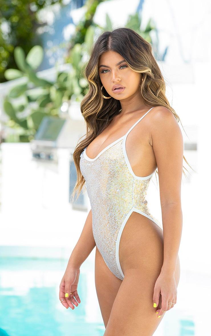 White & Gold Sequin High Leg Swimsuit 2