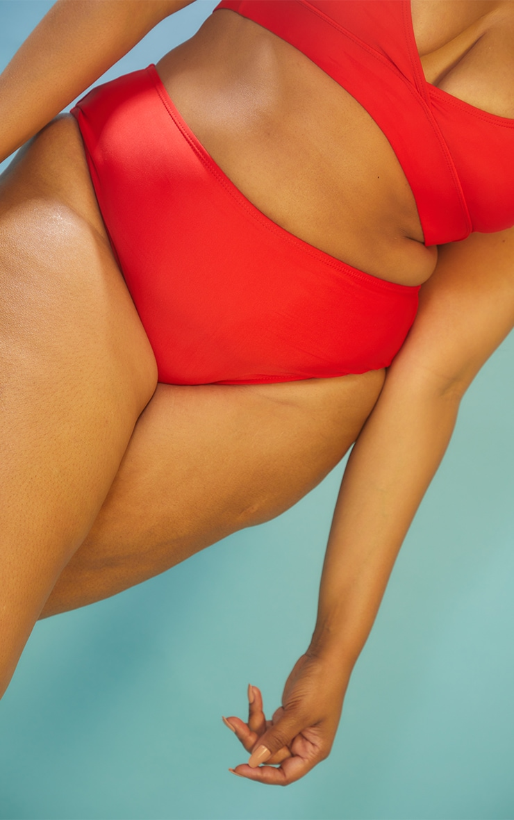 Recycled Plus Red Mix & Match High Waist Bikini Bottoms 4