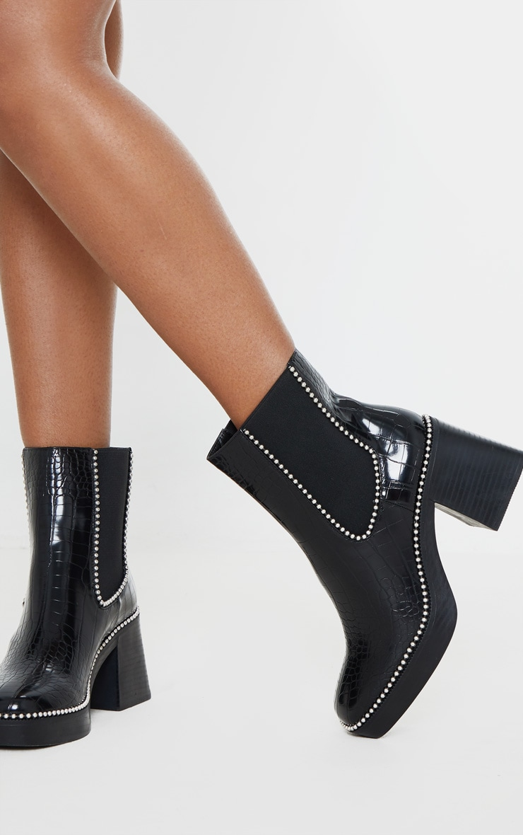 Black Square Toe Chunky Block Heel Chelsea Boot 1