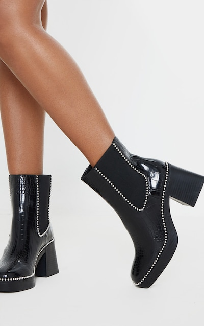 Black Square Toe Chunky Block Heel Chelsea Boot