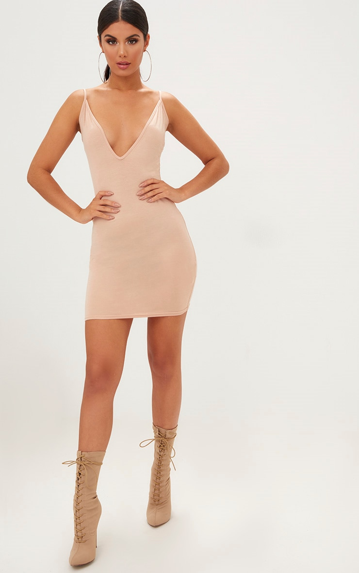 Nude Jersey Strappy Plunge Bodycon Dress 4