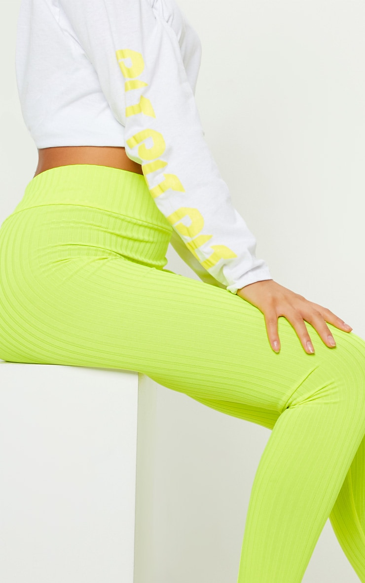Neon Yellow Ribbed High Waisted Legging 5