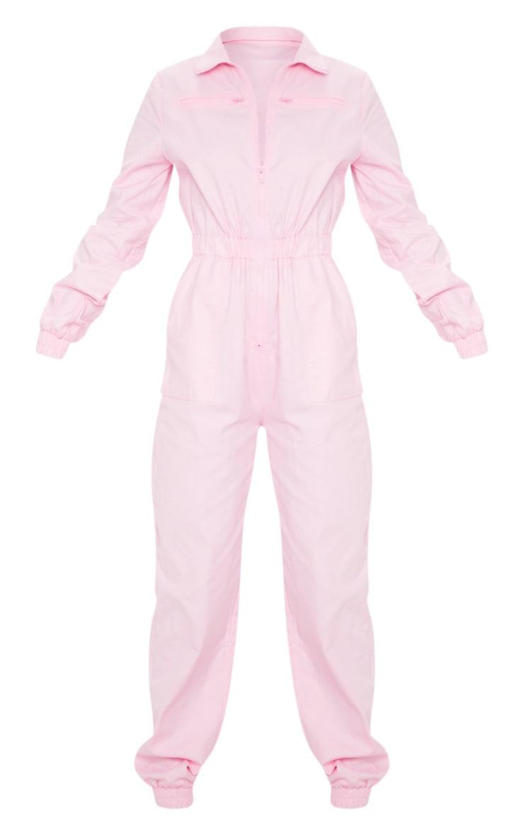 Baby Pink Utility Contrast Zip Jumpsuit 5