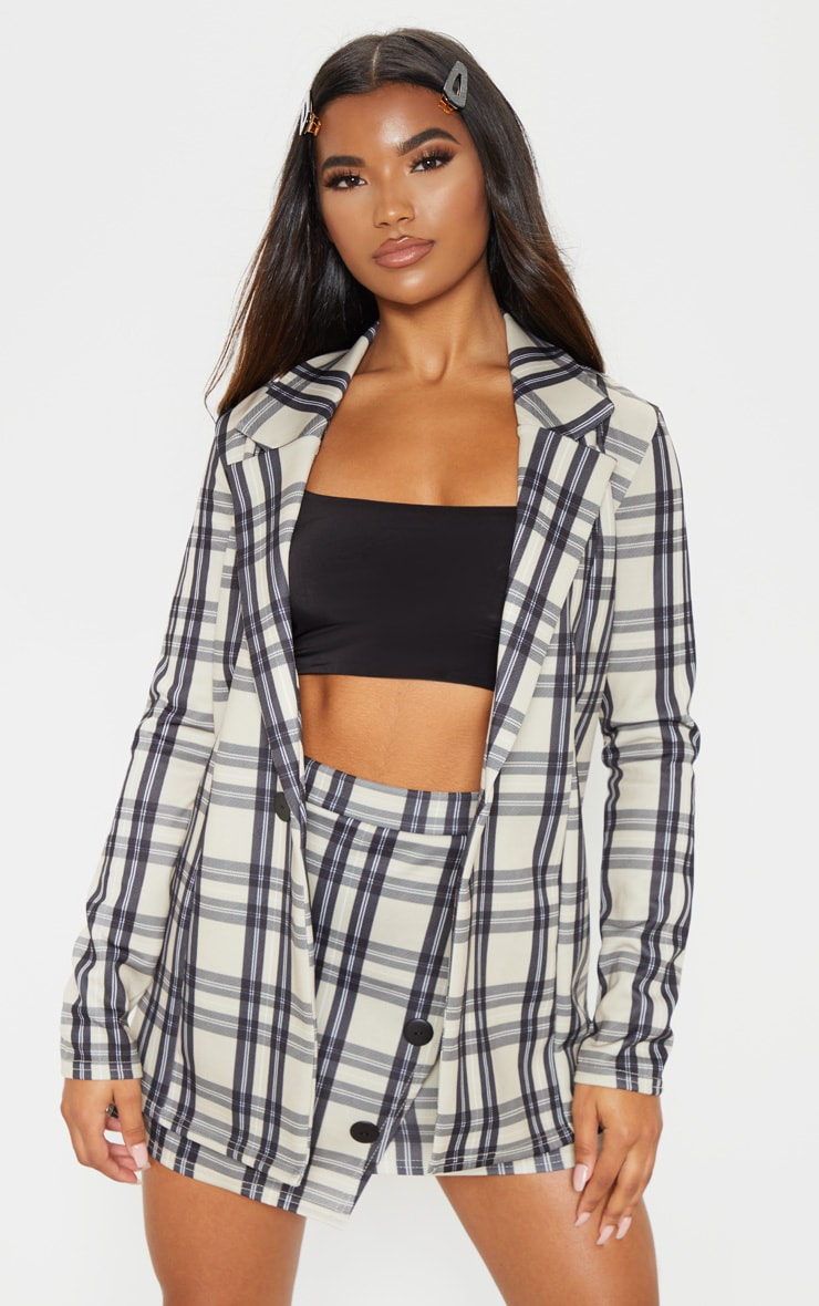 Stone Checked Boyfriend Blazer 1