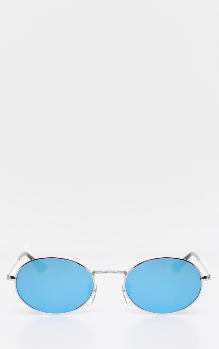 Blue Revo Metal Oval Sunglasses 2