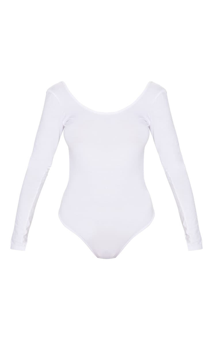 Basic White Scoop Back Long Sleeve Bodysuit 3