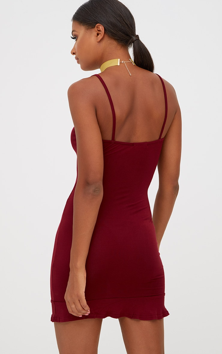 Burgundy Frill Hem Bodycon Dress 2