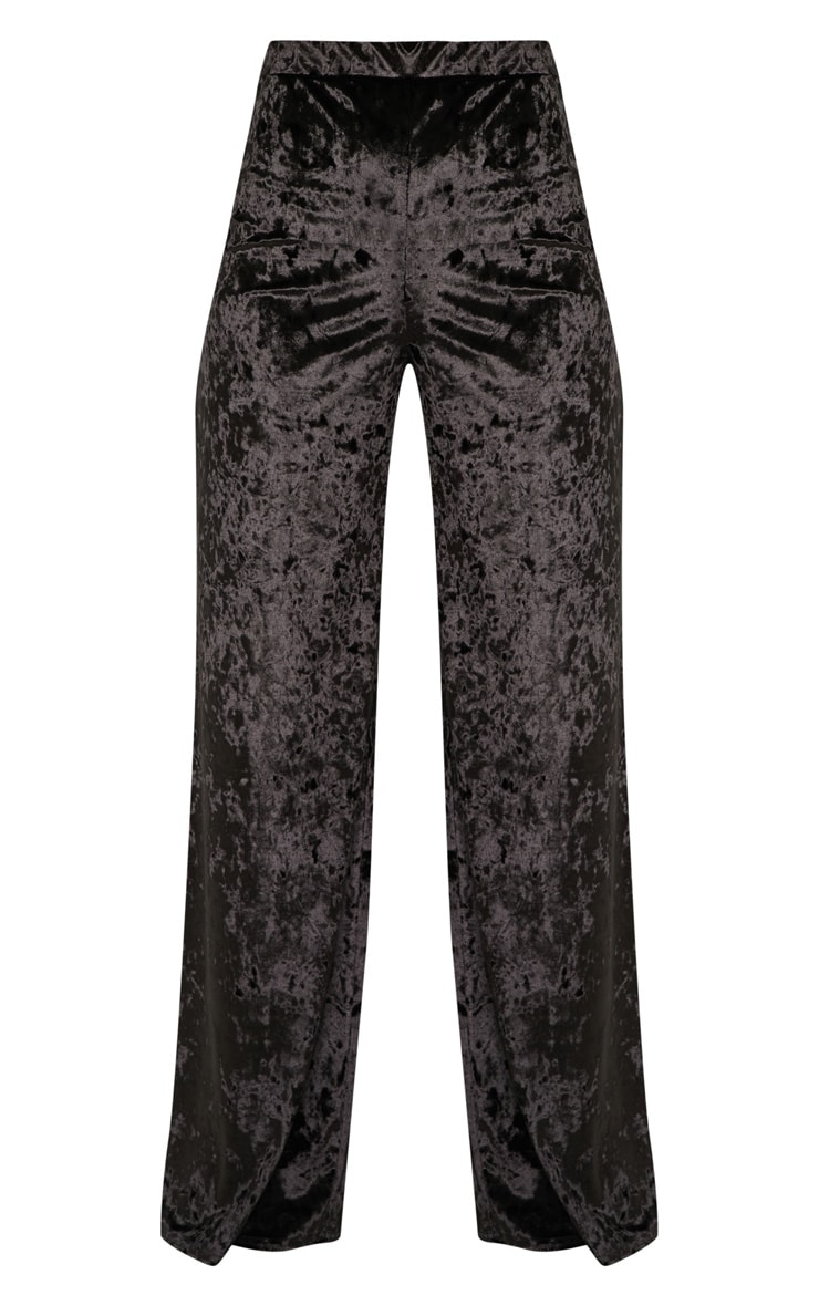 Black Crushed Velvet Wide Leg Pants 3