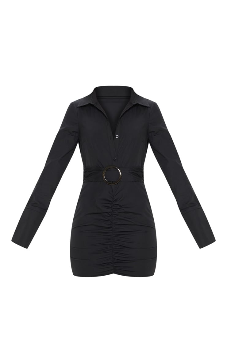 Black Plunge Ruched Tortoise Belted Bodycon Shirt Dress 3