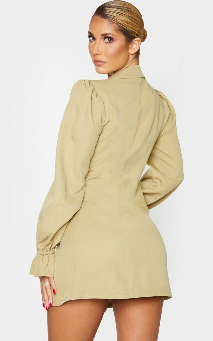 Soft Olive Frill Cuff Blazer Dress 2