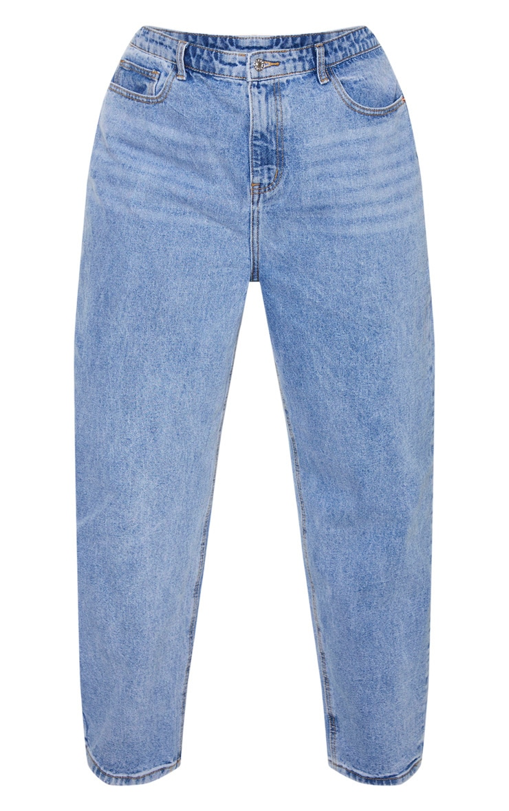 PRETTYLITTLETHING Plus Light Wash Mom Jean 5