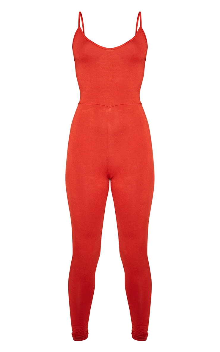 Terracotta Basic Strappy Plunge Jumpsuit 3