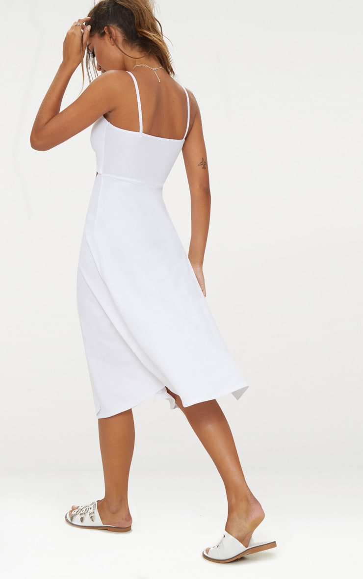 White Tie Front Strappy Swing Dress 2
