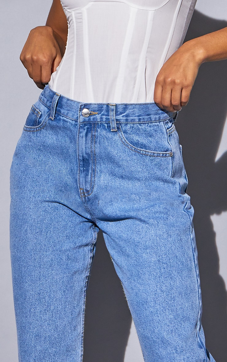 Recycled Light Blue Wash Basic Low Rise Baggy Boyfriend Jeans 4