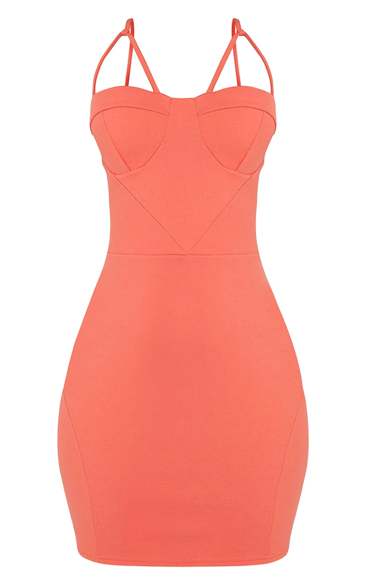 Carrie Coral Crepe Panel Bodycon Dress 2