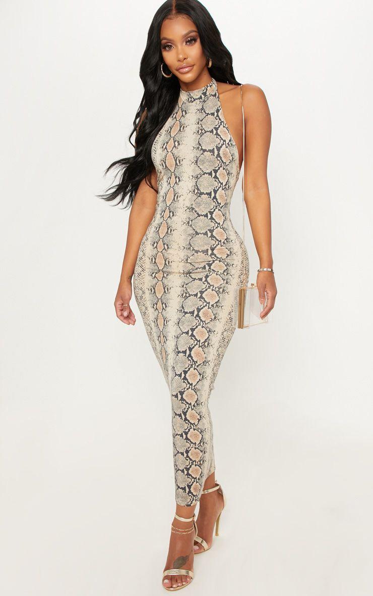 Shape - Robe longue dos nu taupe à imprimé serpent 1