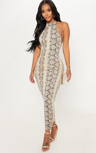 e501c3f942011 Shape Taupe Snake Print Halterneck Midaxi Dress