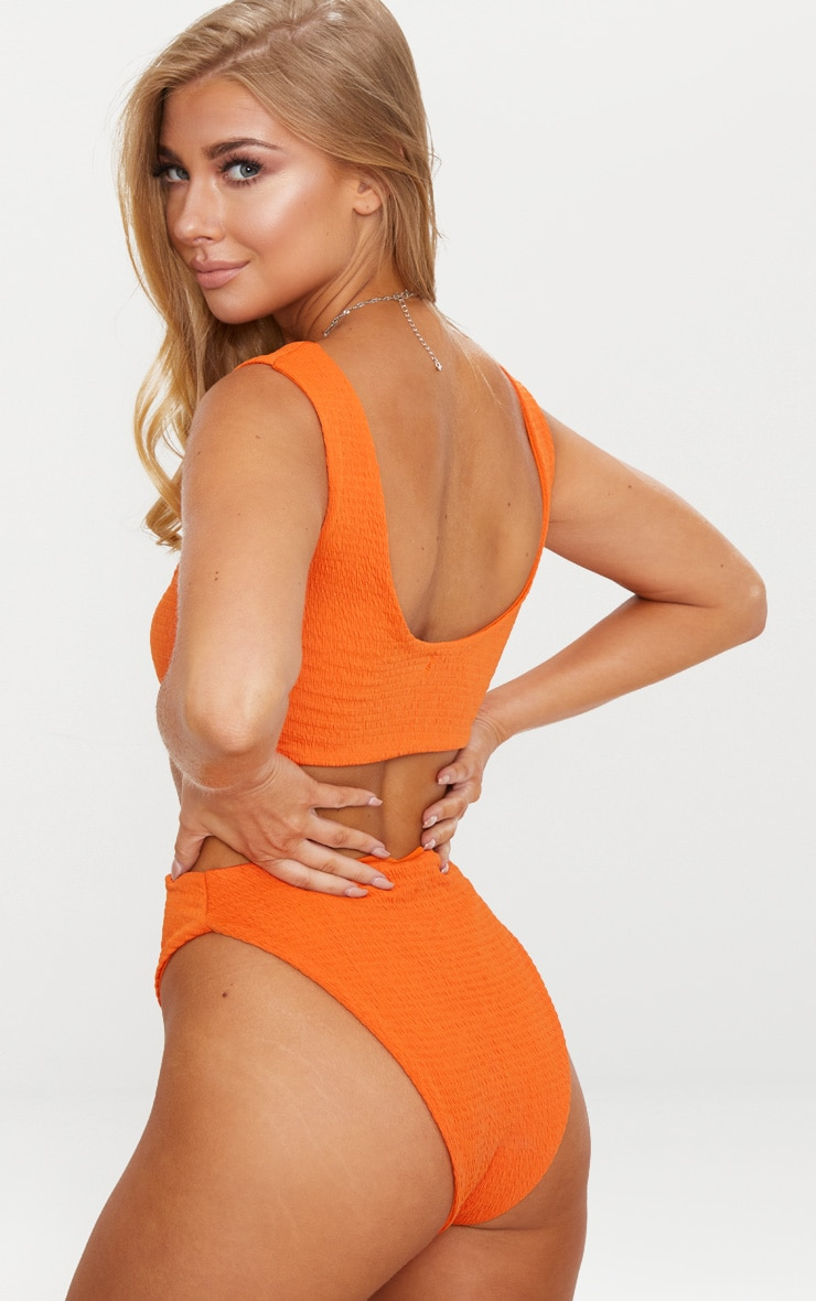 Orange Crinkle Two Tone Ring Middle Swimsuit 2