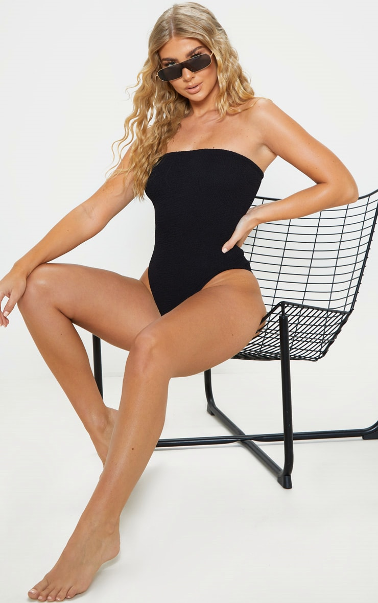 Black Crinkle Strapless Swimsuit 4
