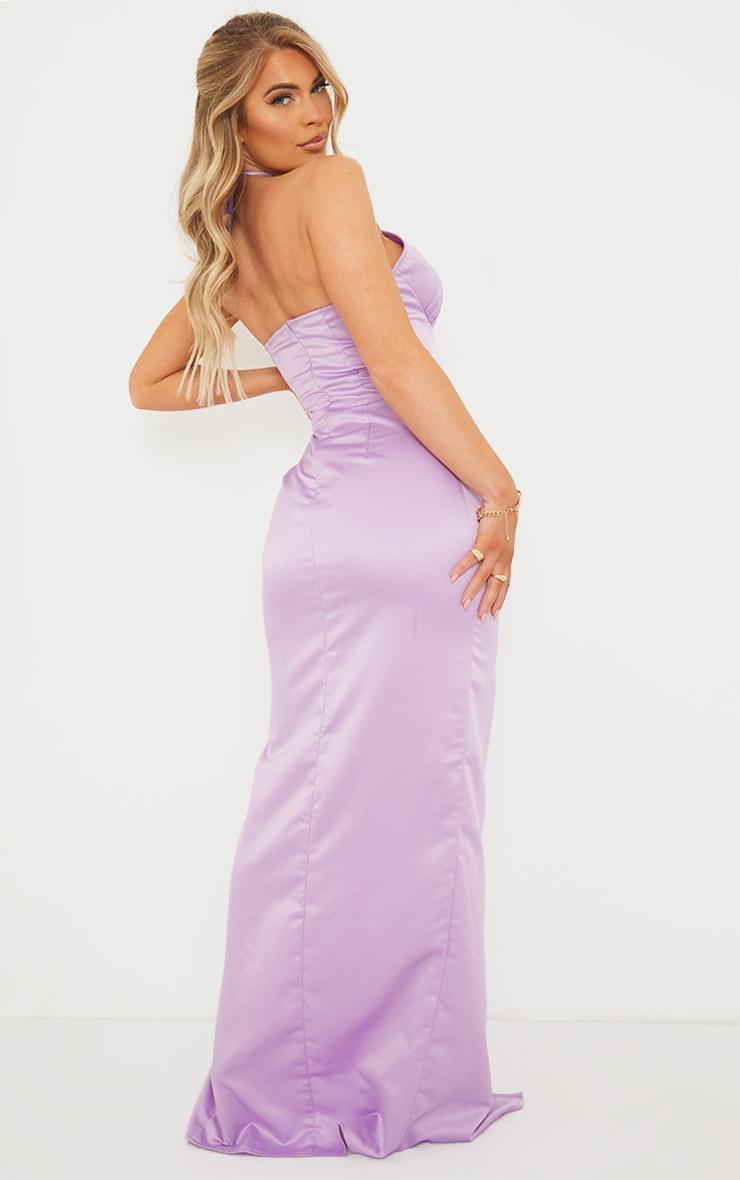 Lilac Halterneck Underbust Seam Satin Maxi Dress 2