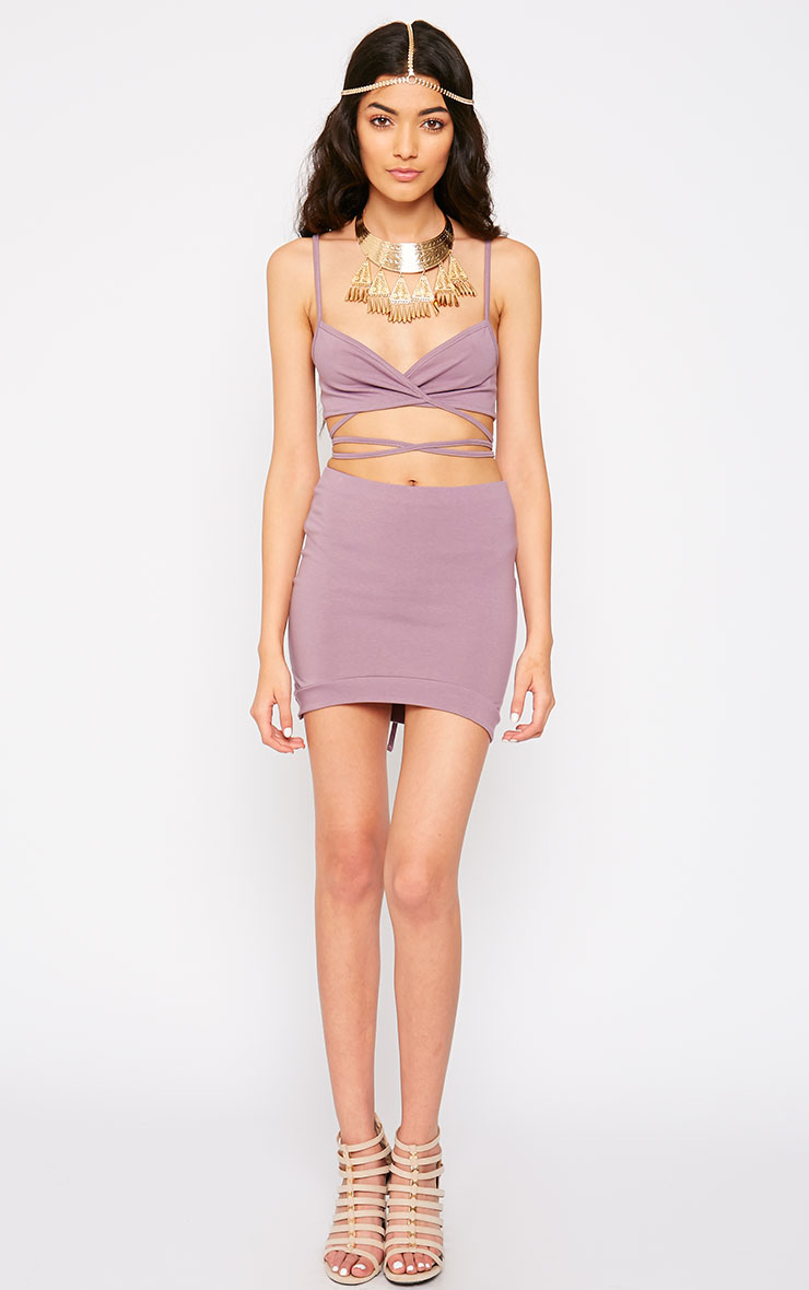 Phoenix Mauve Curved Hem Mini Skirt 5