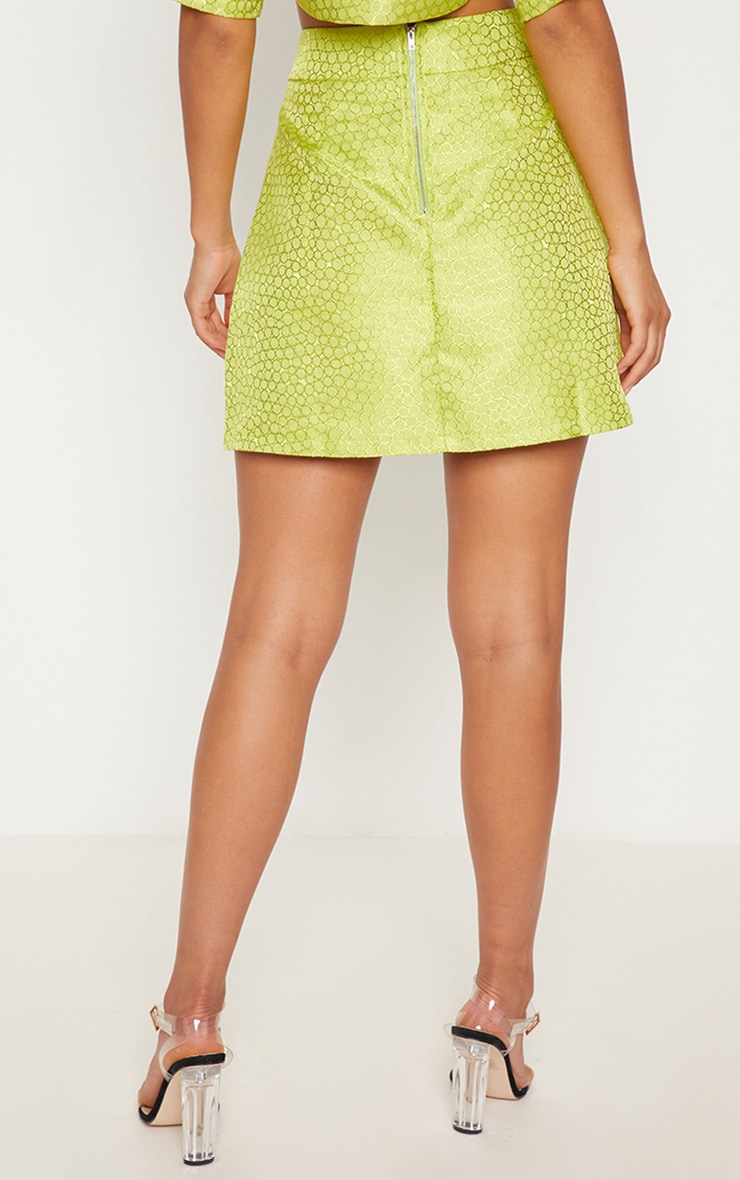 Lime Green Jacquard High Waisted Skirt 5