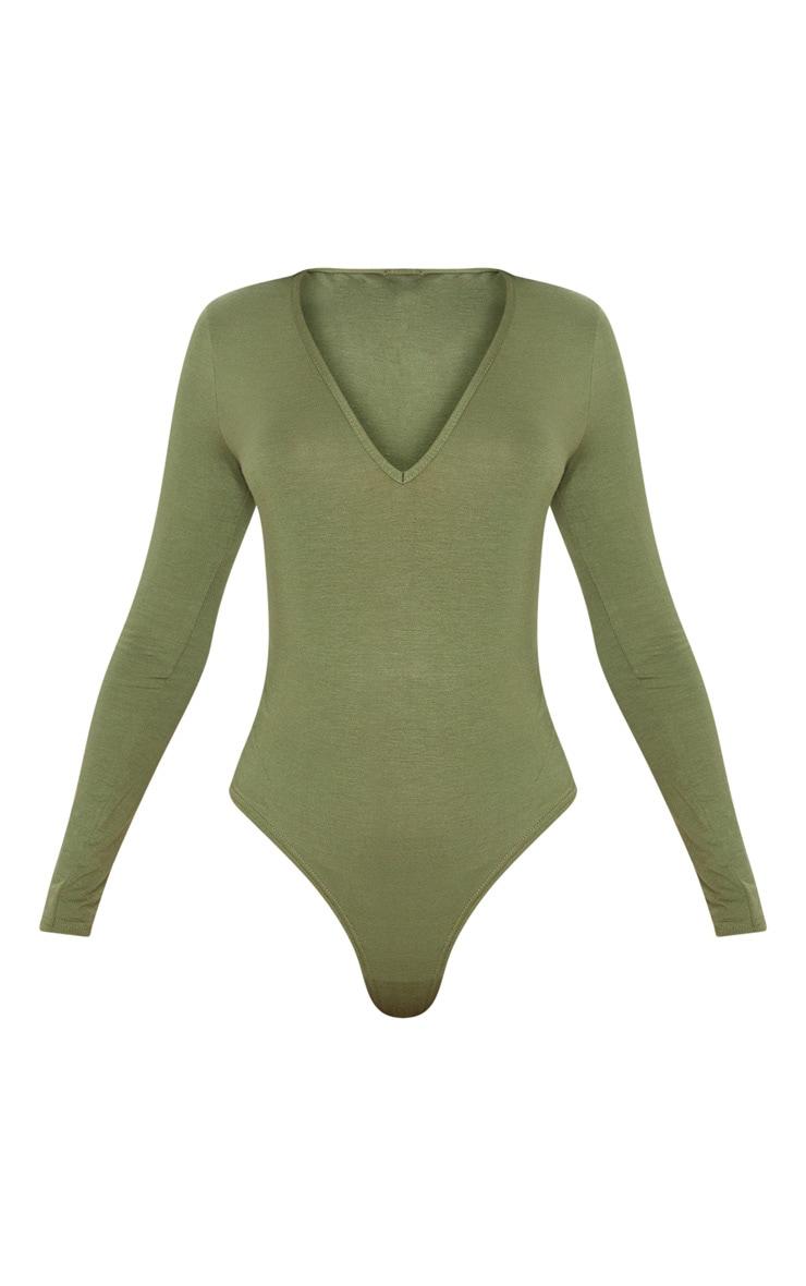 Basic Khaki V Neck Long Sleeve Bodysuit 3