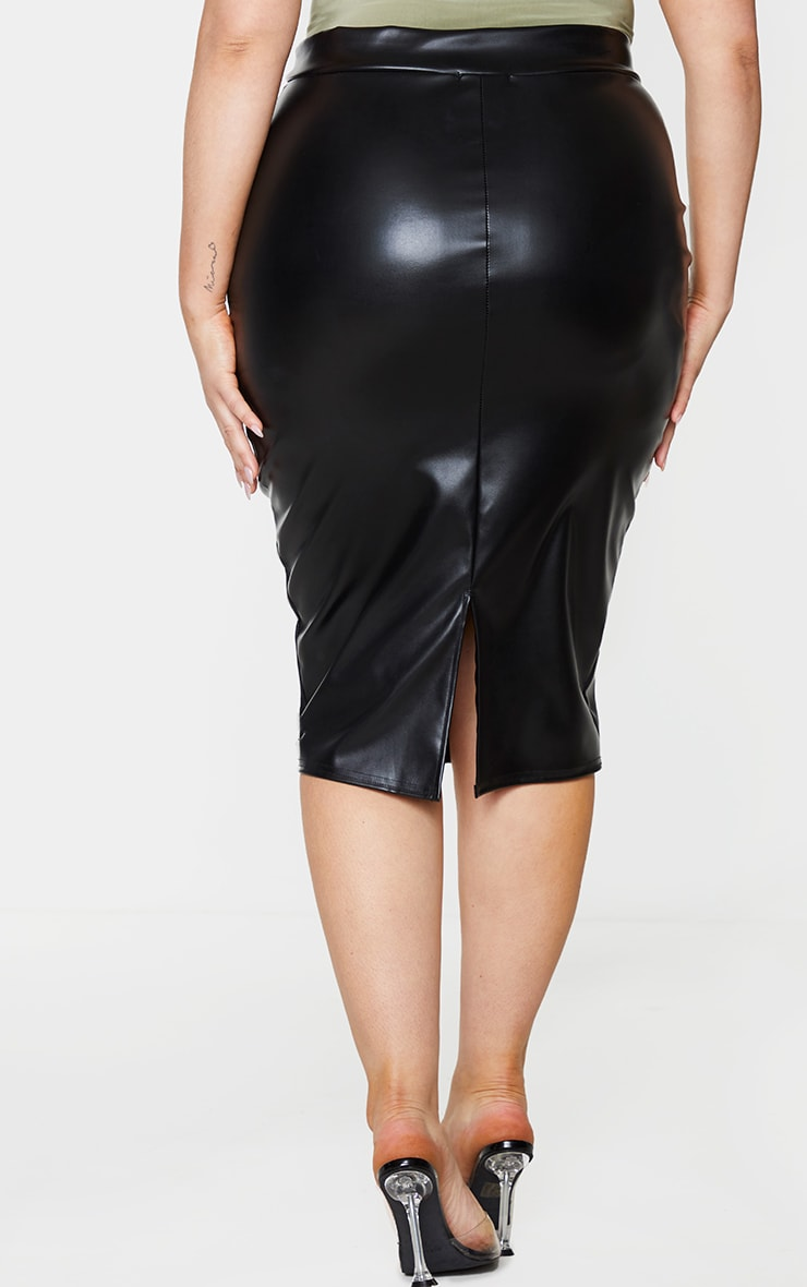 Plus Eva Black Faux Leather Panel Midi Skirt 3