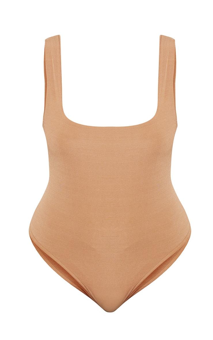 Plus Camel Slinky Square Neck Thong Bodysuit 4