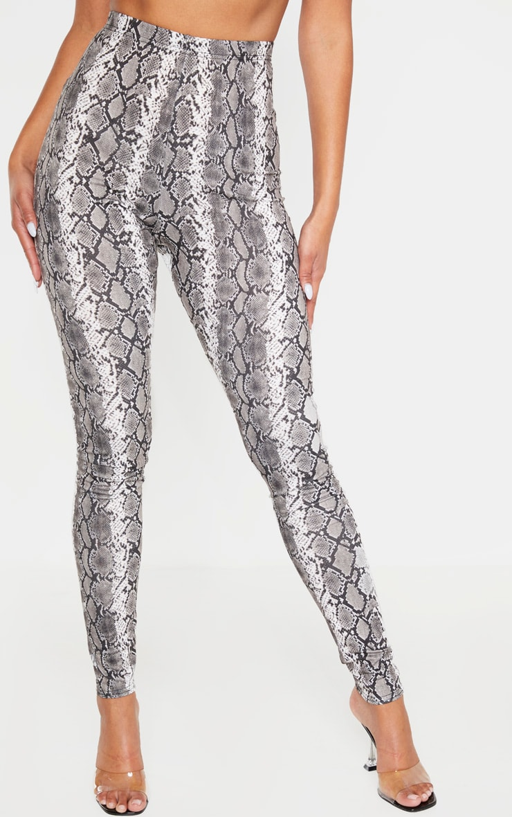 Grey Snake Print Leggings 2