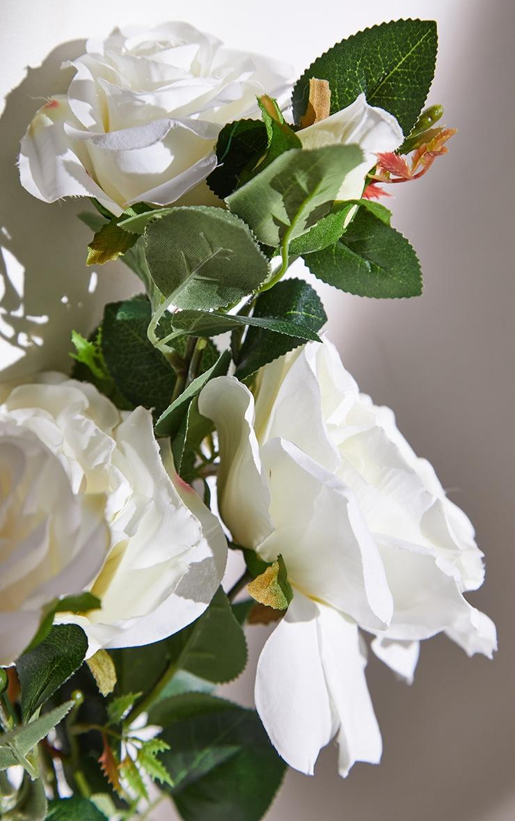 White Silk Garden Rose Artificial Flower 5