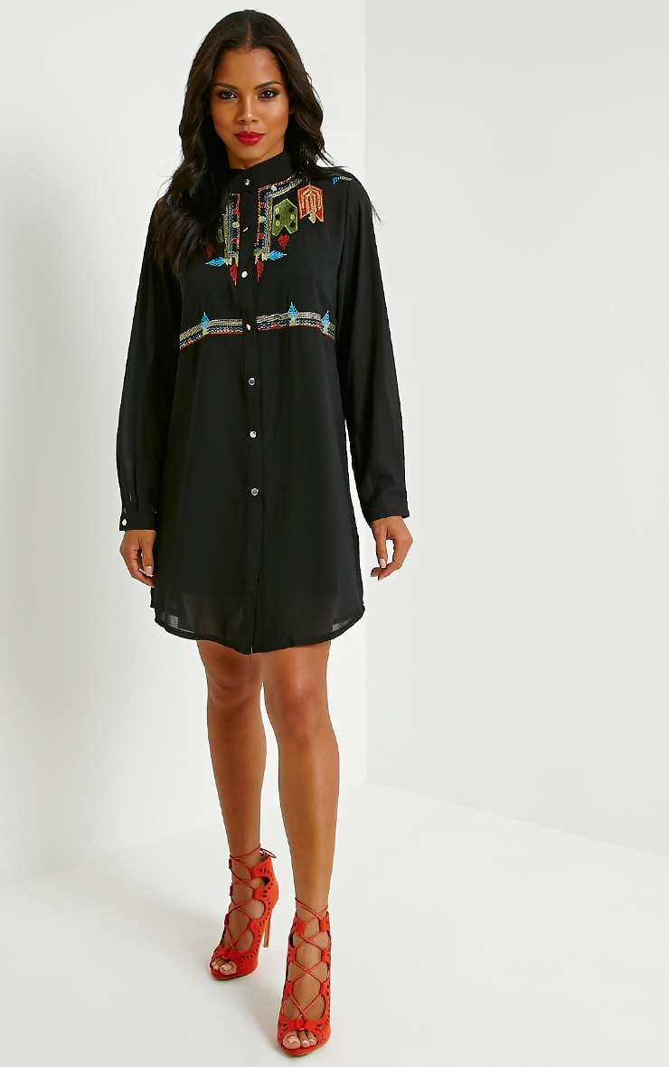Milla Black Embroidered Sheer Shirt Dress 3