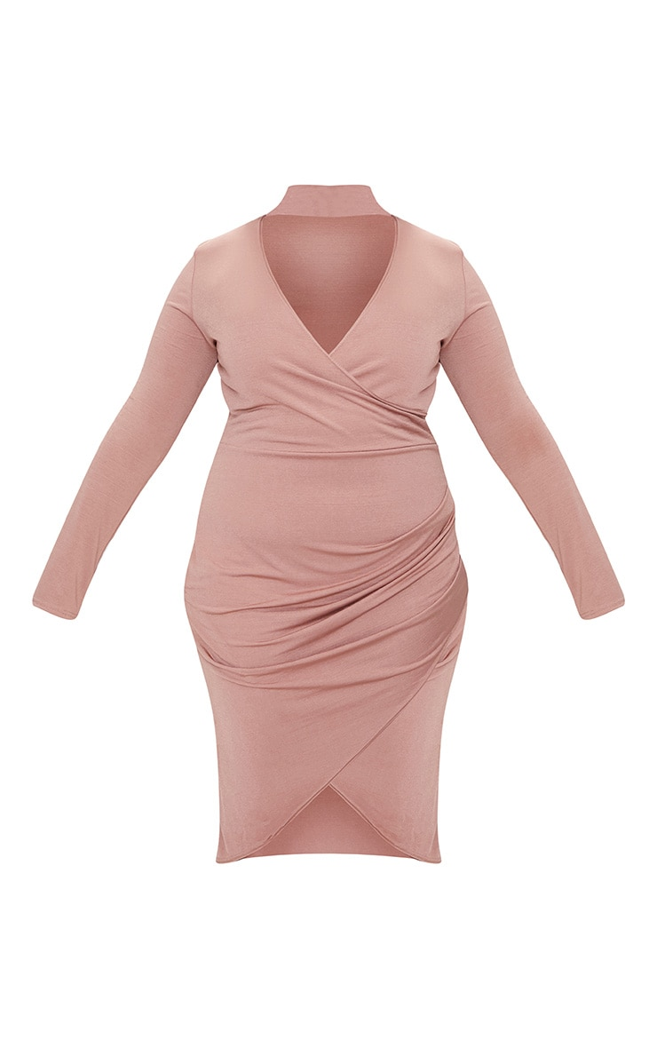 Plus Rose Slinky Wrap Dress 4