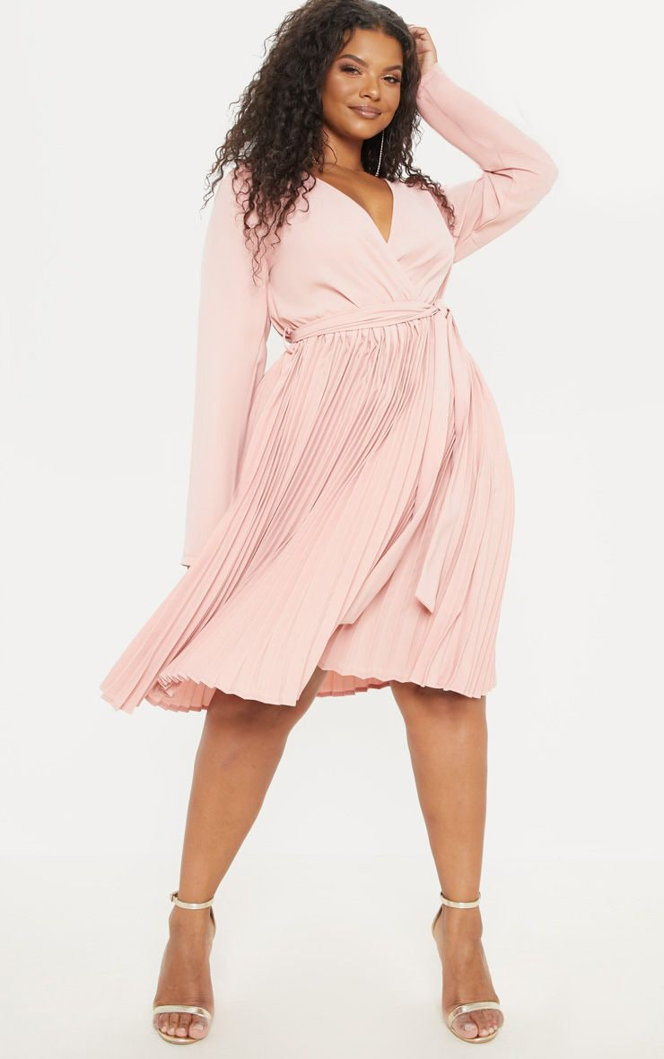 Plus Rose Long Sleeve Pleated Midi Dress