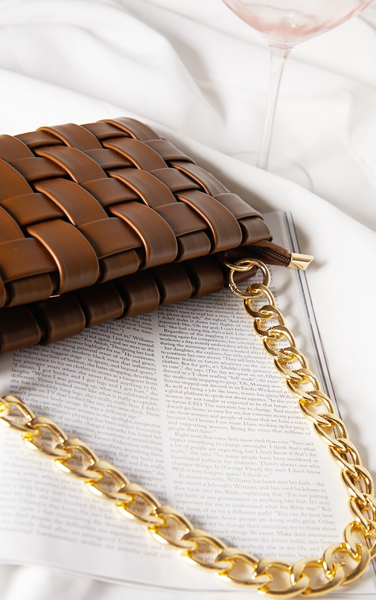 Chocolate Oversized Weave With Gold Chain Shoulder Bag 4