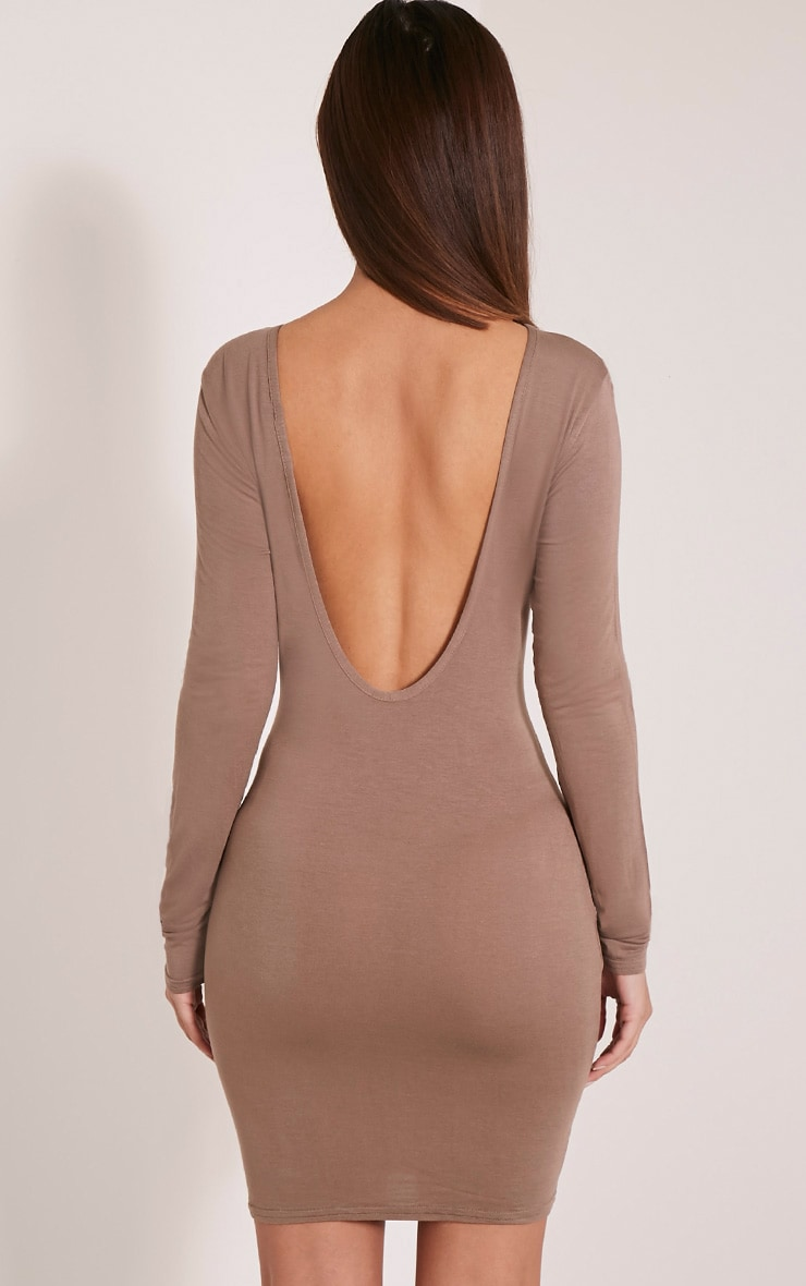Basic Taupe Scoop Back Bodycon Dress 2