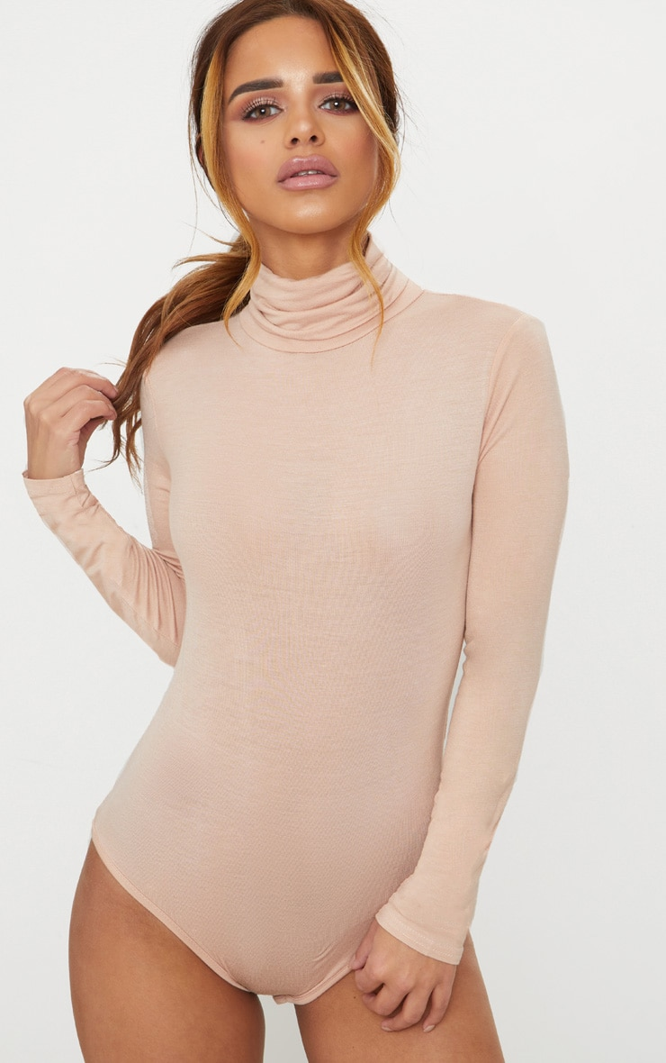 Petite Nude Basic Roll Neck Long Sleeve Bodysuit 2