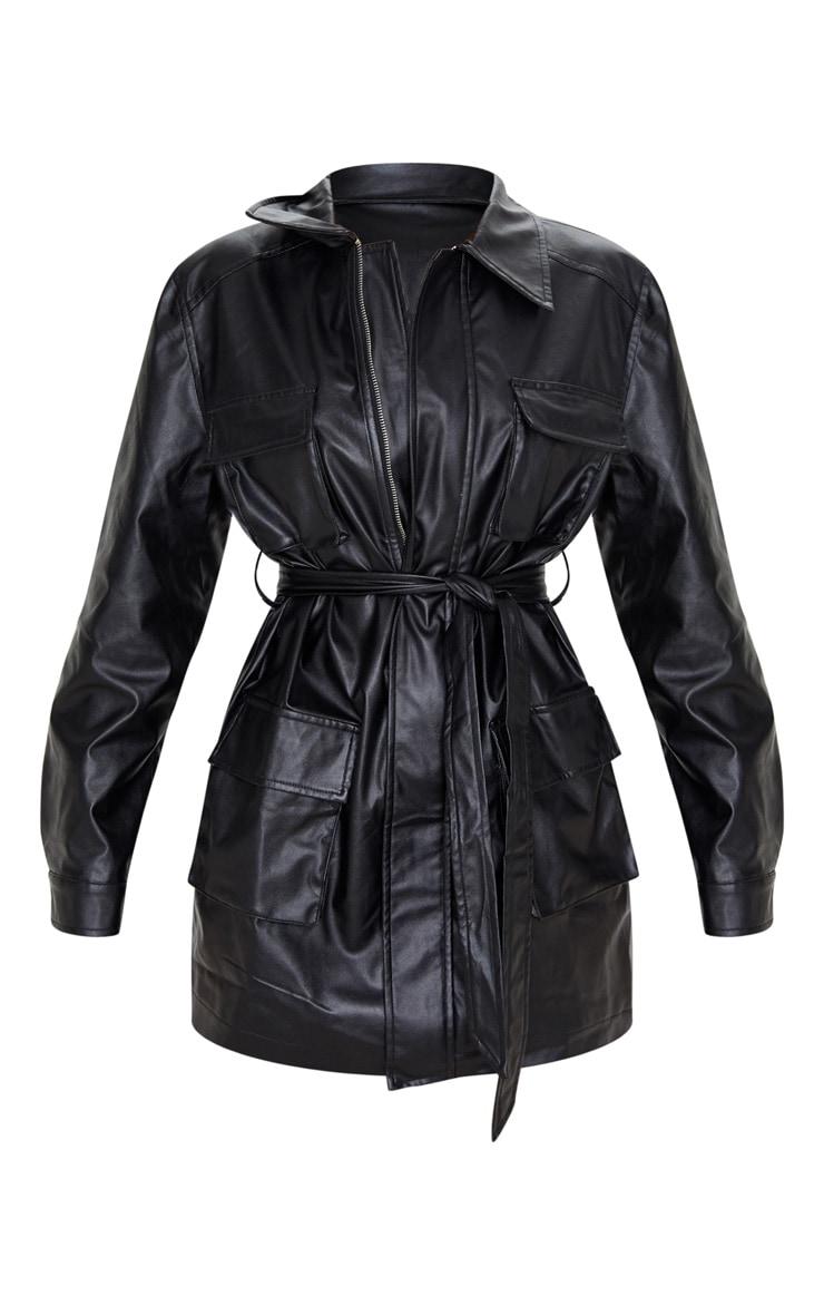 Black Faux Leather Pocket Oversized Jacket 4