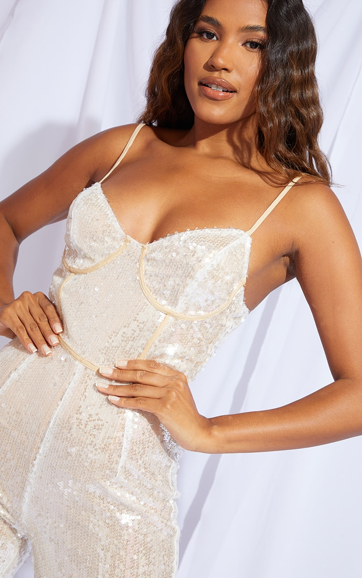 Premium Champagne Sequin Binding Detail Strappy Jumpsuit 4