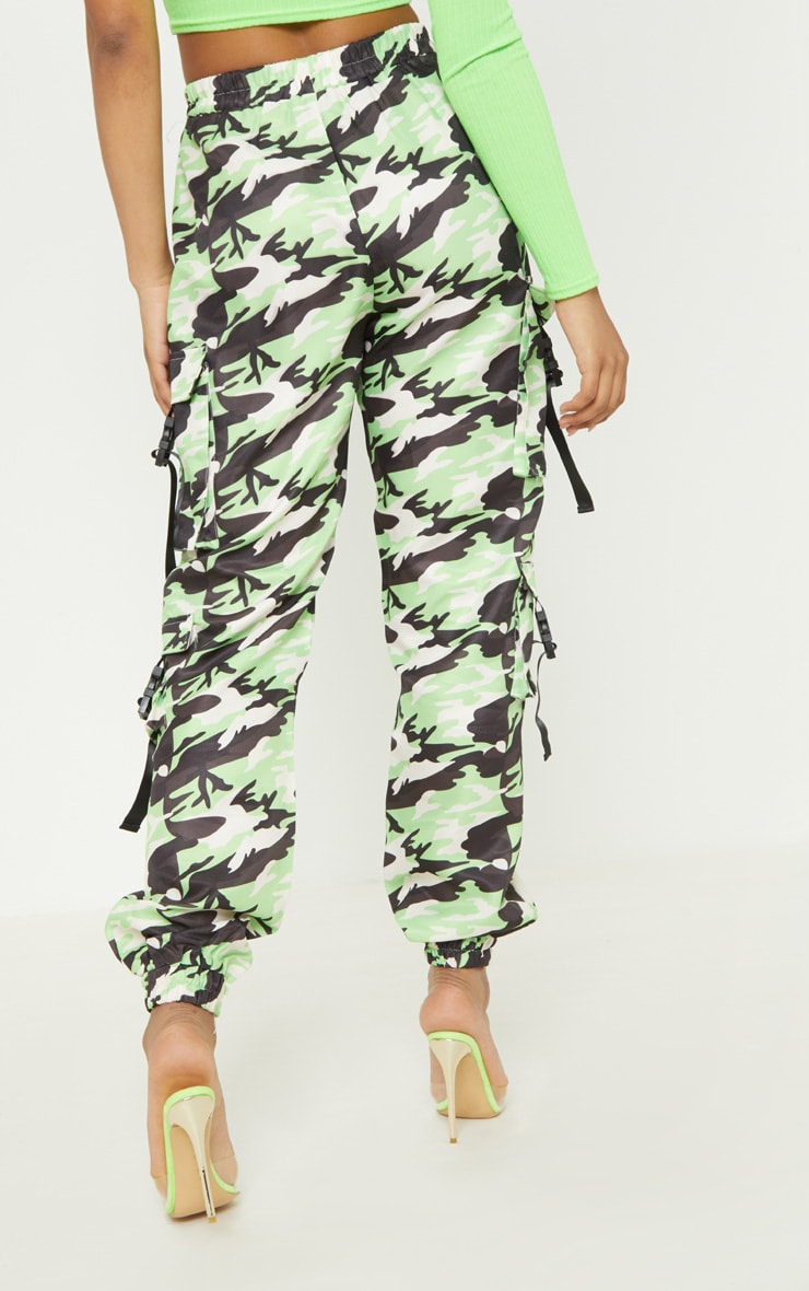 Tall Neon Lime Camo Pocket Detail Cargo Trousers 4