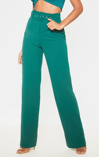 Jasper Green Lightweight Woven Belted Wide Leg Trouser