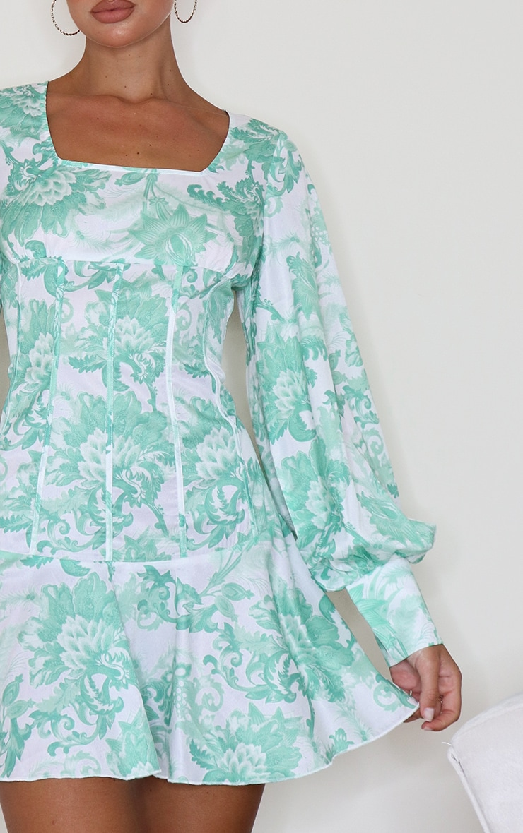 Sage Green Jaquard Print Puff Sleeve Frill Hem Bodycon Dress 3