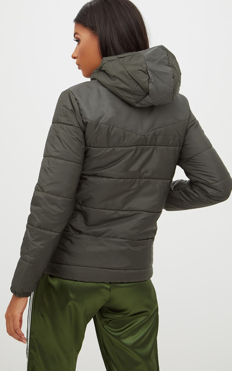 Khaki Hooded Puffer Jacket 2