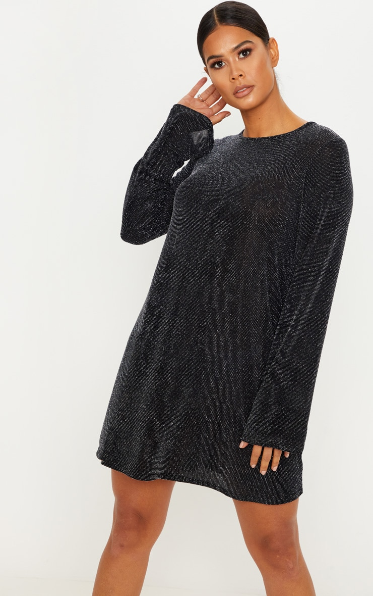 Silver Lurex Long Sleeve Shift Dress