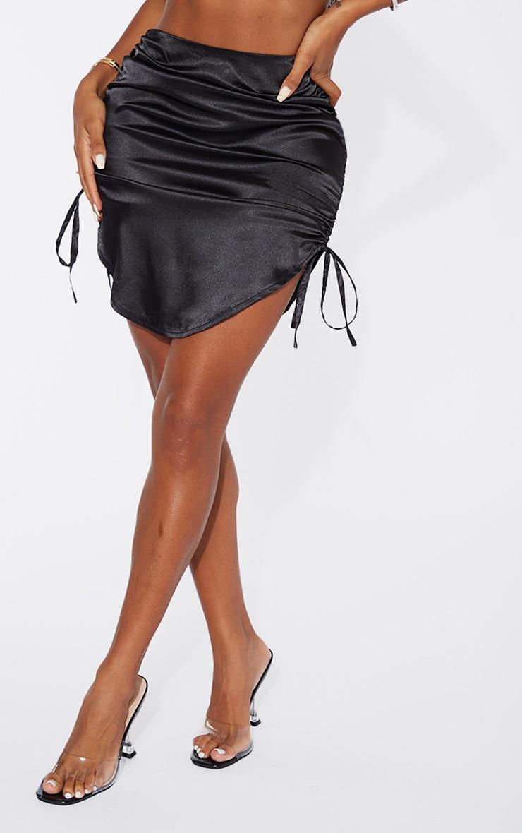 Shape Black Satin Ruched Detail Bodycon Skirt 2